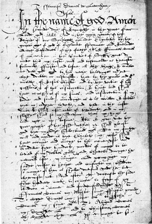 Will of Francis Downes 1586